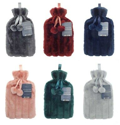 Large 2L Natural Rubber Hot Water Bottle With Warm Faux Fur Fluffy Pom Pom Cover