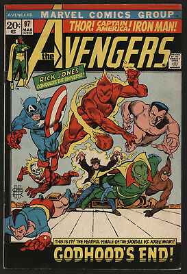 Avengers #97 Mar 1972, Jon Buscema Art, Gil Kane Cover! Off White Pages!
