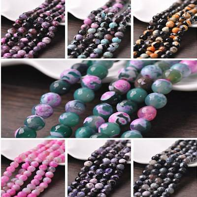 Wholesale 10pcs Facted Natural Gemstone Stone Round Agate Loose Spacer Beads 8mm