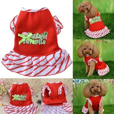 Cute Puppy Pet Dog  Clothes Christmas Costume Dress Letter Printed