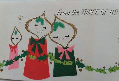Vtg 3 of Us ANTHROPOMORPHIC Candle GOLD Trim MID CENTURY Christmas Greeting CARD