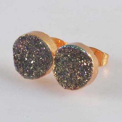 10mm Round Natural Agate Titanium Druzy Stud Earrings Gold Plated H120831