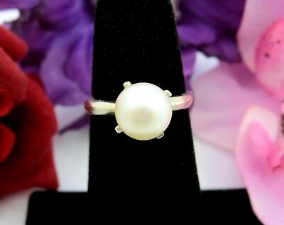 GENUINE PEARL LARGE Vintage RING Prong Reset Not Original Goldtone Size 5.75