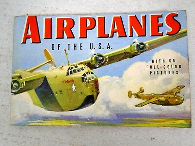 1942 A Guide to Airplanes of USA with 60 Color Pictures Book Buy War Bonds WW2