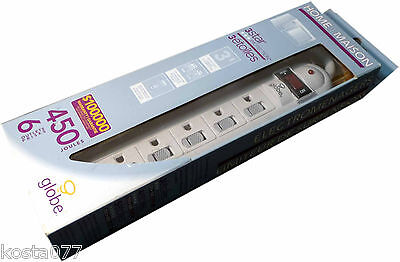 NOS, Globe 6 Outlets 450 Joules 3 Star Home Appliance Surge Protector, Power Bar