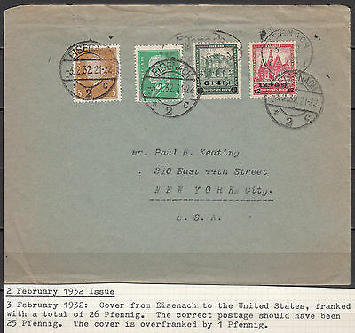 Germany - 3.2.1932 overprinted Buildings set on cover to USA (1947)