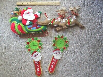 Vtg Felt Santa Sleigh w/ 2 Felt Reindeer Door Cover Handmade Craft 50's 60's LOT
