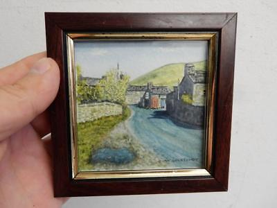 old PAINTING miniature VILLAGE LANDSCAPE signed