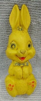 "1960s Blow Mold Hard Yellow Plastic Sitting 11"" Easter Bunny Coin Bank FREE S/H"