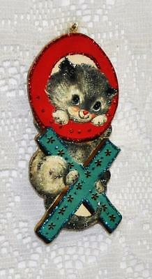 OX Kitty ~ Glittered Vintage Image Ornament