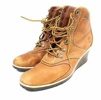 TIMBERLAND Brown Genuine Leather 89336 1826 Wedge Heel Lace Up Boots UK 7 - C28