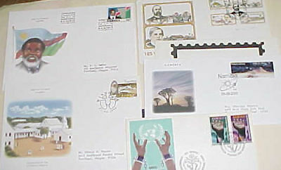 Namibia 5 Diff. Fdc 1975-2000  Cachet Addressed