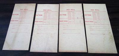 4 Vintage 1940's - 50's Pay Roll Work Daily Cost Card Lot N