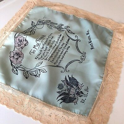 VINTAGE Rayon & Silk FORT KNOX USA SOUVENIR HANKY POEM TO FRIEND ANTIQUE SCARF
