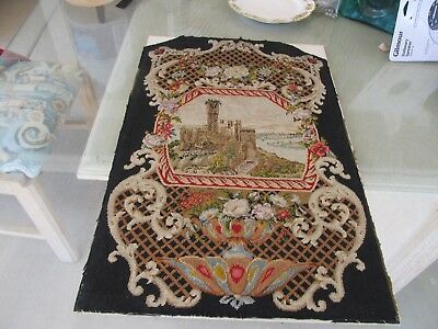 Antique Cross Stitch Needle Work Castle BEAUTIFUL!! Over YEARS OLD! UNFRAMED