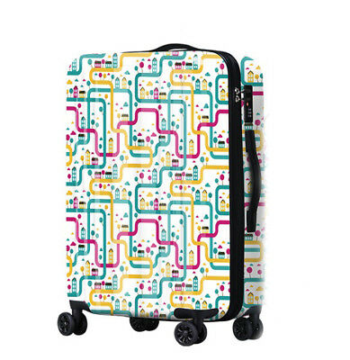 A482 Lock Universal Wheel Multicolor Maze Travel Suitcase Luggage 20 Inches W