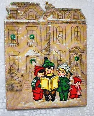 Carolers in Front of Large House ~ Glittered Vintage Image Ornament