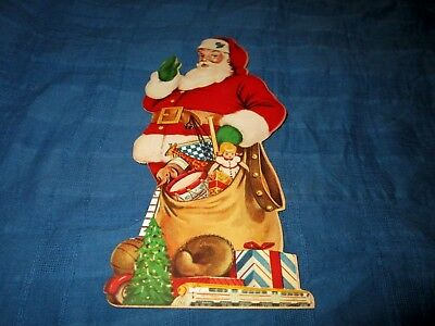 VINTAGE 1950s SAMPLE SANTA CLAUS DIE CUT CHRISTMAS ORNAMENT-RAND MCNALLY & CO