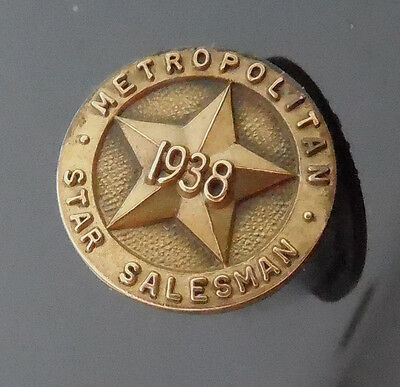 Vintage 10K RGP 1936 Metropolitan Star Salesman Pin - Insurance Sales