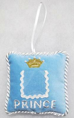 Hand Crafted Blue Velvet Baby Boy Prince Photo Holder Christmas Ornament