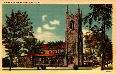 Postcard Church of the Redeemer Sayre Pennsylvania linen Unused