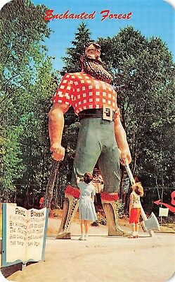 # 3349K    Old Forge,  N.y.   Postcard,   Paul  Bunyan,   The Enchanted Forest