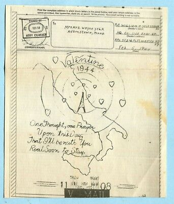 WWII Illustrated V-Mail 1944 VALENTINE'S DAY  From  ITALY APO 302