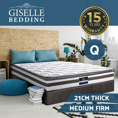 Giselle Bedding QUEEN Mattress Pillow Top Bed Size Bonnell Spring Foam 21CM