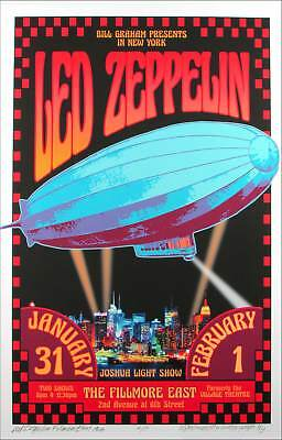 Led Zeppelin Fillmore East Newly Created SN 100 Artist Edition Signed David Byrd