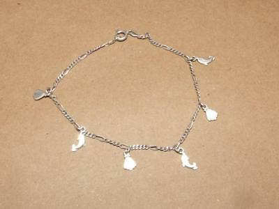 .925 STERLING SILVER ANKLE BRACELET WITH 6 NAUTICAL THEME CHARMS DANGLING J 334