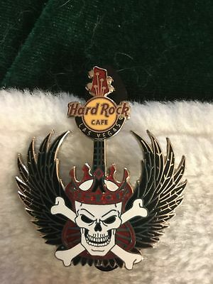 Hard Rock Cafe Pin Las Vegas Winged Guitar ~ Skull Crossbones Wearing Red Crown