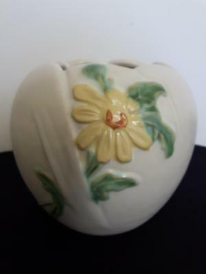 Antique Weller pottery vase planter matt white with yellow daisy and leaves