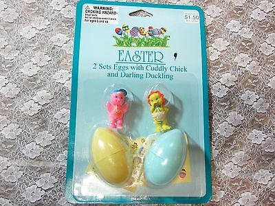 Vintage Imperial Easter Egg Toy Set, 2 Eggs Chick & Duckling & Stickers MIP