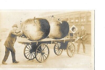 Real Photo Rppc Missoula Montana Mt Exaggeration Fantasy Red Apples Cart Pulled