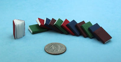 1:12 Dollhouse Miniature Set of 12 Opening Books with Pages Inside #S4096