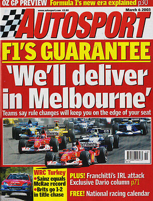 Autosport 6 Mar 2003 - Touring Cars, Turkish Rally, Australian GP, Williams,