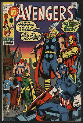 Avengers #92 Sep 1971, Neal Adams Cover, Very Tight Structure, White Pages!