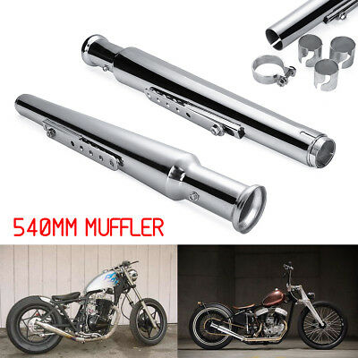 Pair Muffler Cocktail Shaker Tulip Bell End For Cafe Racer Bobber Chopper Custom