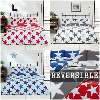 All Stars Bright Bold Printed Reversible Duvet Cover Quilt Linen