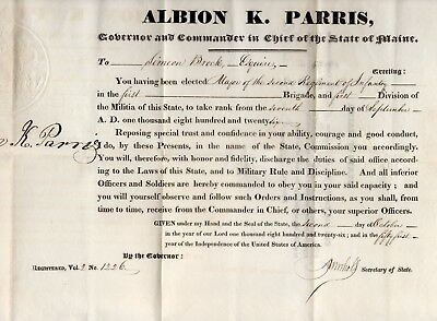 1826 maine militia promotion certificate signed by governor albion