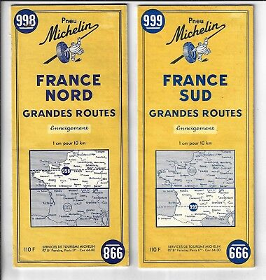 Two Michelin Maps Of France # 998 & # 999, Both In Very Good Condition.