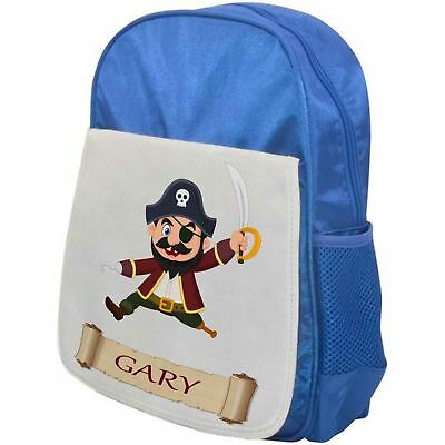 Personalised Childrens Pirate Backpack - Pirate Wooden Leg - School Bag - Blue