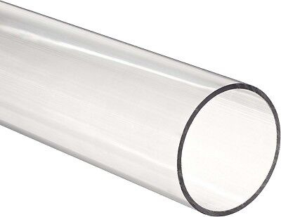 "Clear acrylic Plastic Plexiglass Pipe tube 3"" 89 mm fits 3"" PVC fittings by ft"