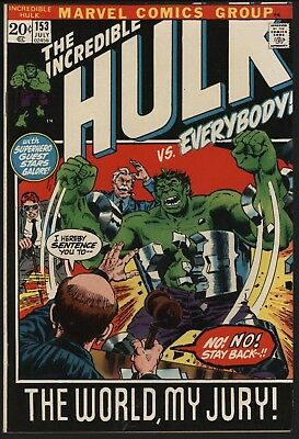 Incredible Hulk #153 Scarce! Hulk On Trial. Nice Tight 8.0 Cents Copy Nice Pages