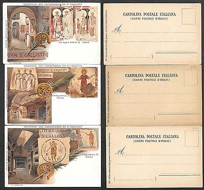 3 Old Italy Postcards - Catacombes to St. Calliste