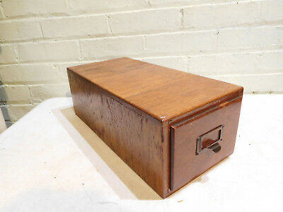 Antique Oak Single Drawer File Card Cabinet with Brass Handle
