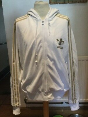 Adidas White/gold Trefoil Hooded Tracksuit Top Size Extra Large