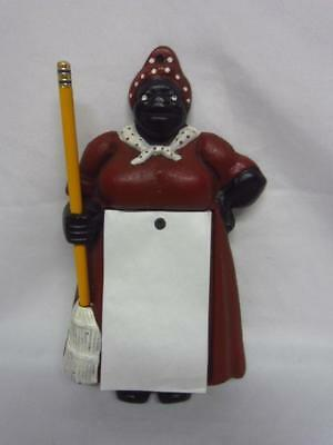Cast Iron Maid Shaped Wall Hanging Notepad and Pencil Holder