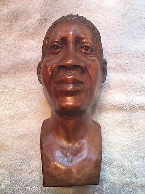 Vintage African Art male Bust Detailed Figurine Hand Carved Hard Wood