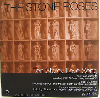 """STONE ROSES Display Poster Ten Storey Love Song UK PROMO ONLY 7"""" Size"""